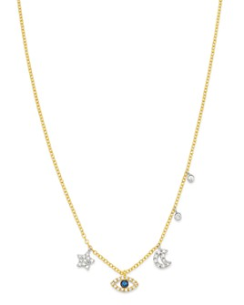 Meira T - 14K White & Yellow Gold Blue Sapphire & Diamond Evil Eye, Star, Moon & Bezel Charm Necklace, 15.5-17.5""