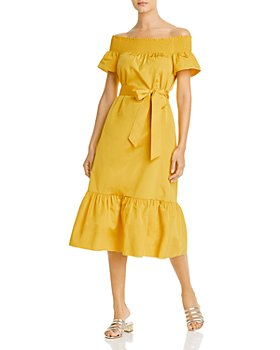 Tory Burch - Smocked Off-the-Shoulder Midi Dress