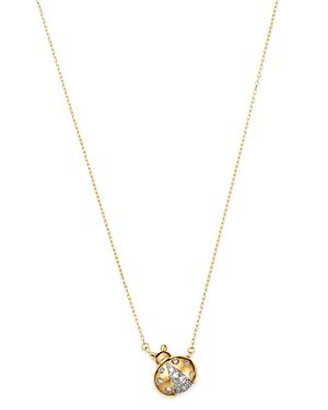 Adina Reyter 14K Yellow Gold Garden Diamond Pave Lady Bug Pendant Necklace, 15-16