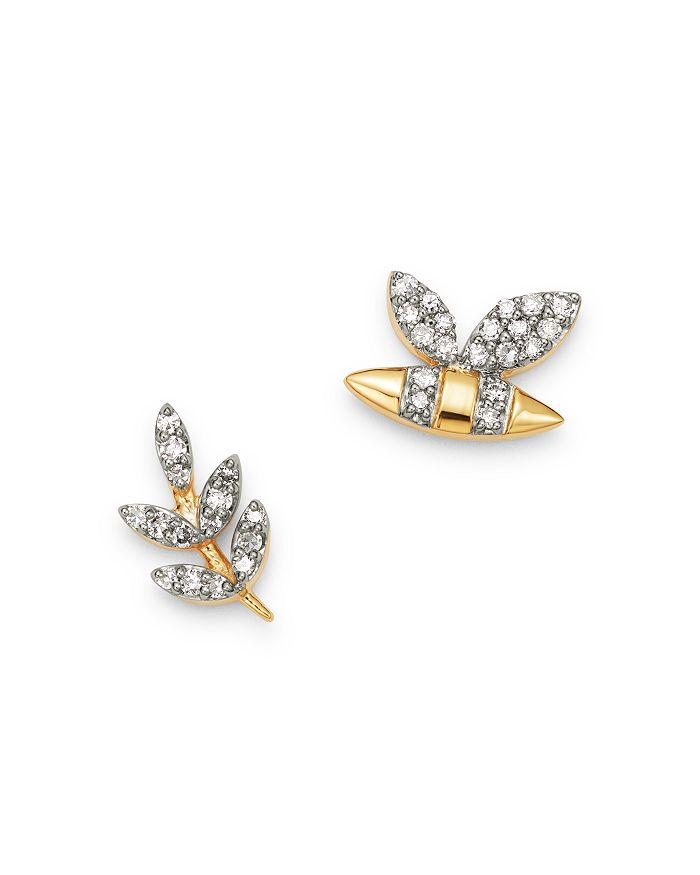 Adina Reyter - 14K Yellow Gold Garden Diamond Pavé Bee & Leaf Mismatch Stud Earrings - 100% Exclusive