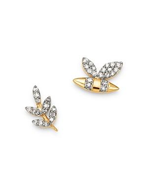 Adina Reyter 14K Yellow Gold Garden Diamond Pave Bee & Leaf Mismatch Stud Earrings - 100% Exclusive