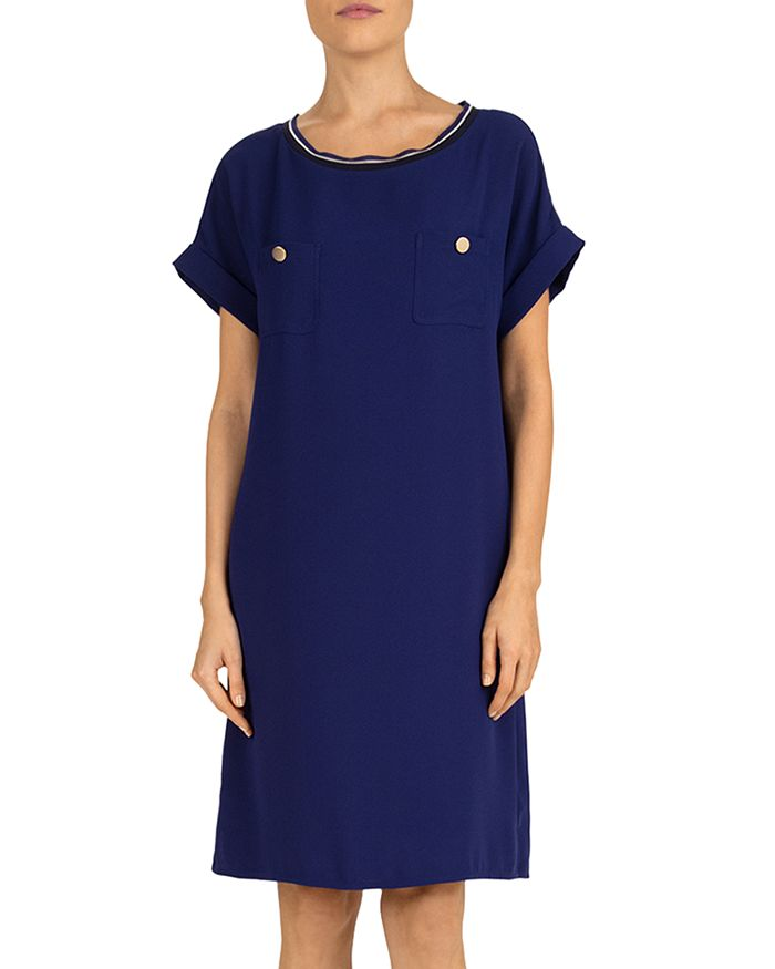 Gerard Darel Savina Buttoned Sheath Dress In Blue