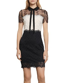 Sandro - Rozen Two-Tone Lace Mini Dress