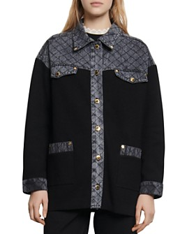 Sandro - Kole Denim-Trimmed Knit Jacket
