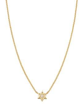 "Zoë Chicco - Midi Bitty 14K Yellow Gold & Diamond Star of David Necklace, 16"""