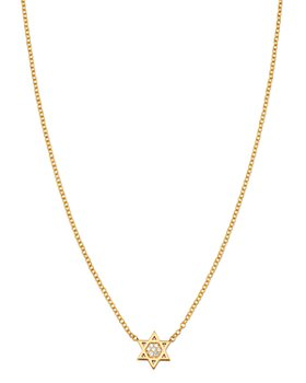 Zoë Chicco - Midi Bitty 14K Yellow Gold & Diamond Star of David Necklace, 16""