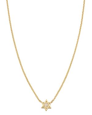 Zoe Chicco Midi Bitty 14K Yellow Gold & Diamond Star of David Necklace, 16