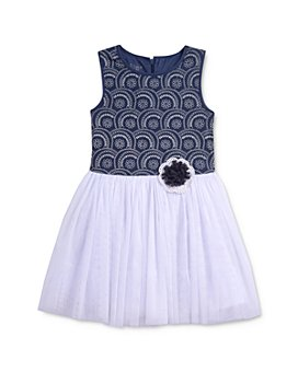 Pippa & Julie - Girls' Textured Geo-Print Fit-and-Flare Tutu Dress - Little Kid