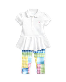 Ralph Lauren - Girls' Peplum Polo Top & Patchwork Leggings Set - Baby