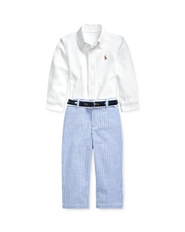Ralph Lauren - Boys' Button-Down Shirt, Seersucker Pants & Jacquard D-Ring Belt Set - Baby