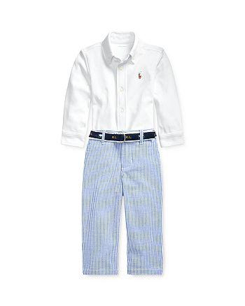 Ralph Lauren - Boys' Button-Down Shirt, Seersucker Pants & Jacquard D-Ring Belt Set - Baby