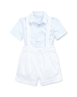 Ralph Lauren - Boys' Cotton Poplin Stripe Button-Down Shirt & Textured Dobby Overalls Set - Baby
