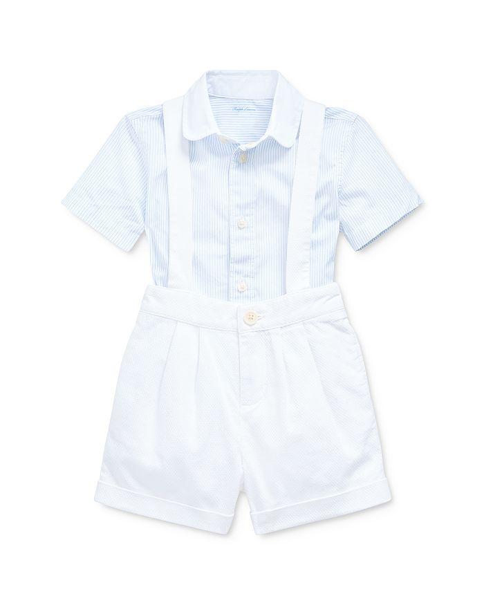 Ralph Lauren - Boys' Cotton Poplin Stripe Button-Down Shirt & Textured Dobby Overalls Set - Baby