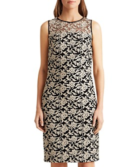 Ralph Lauren - Metallic Floral Embroidered Cocktail Dress