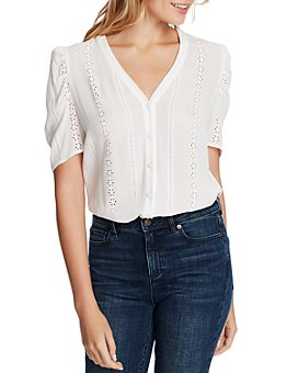 1.STATE - Short-Sleeve Embroidered Crinkle Blouse