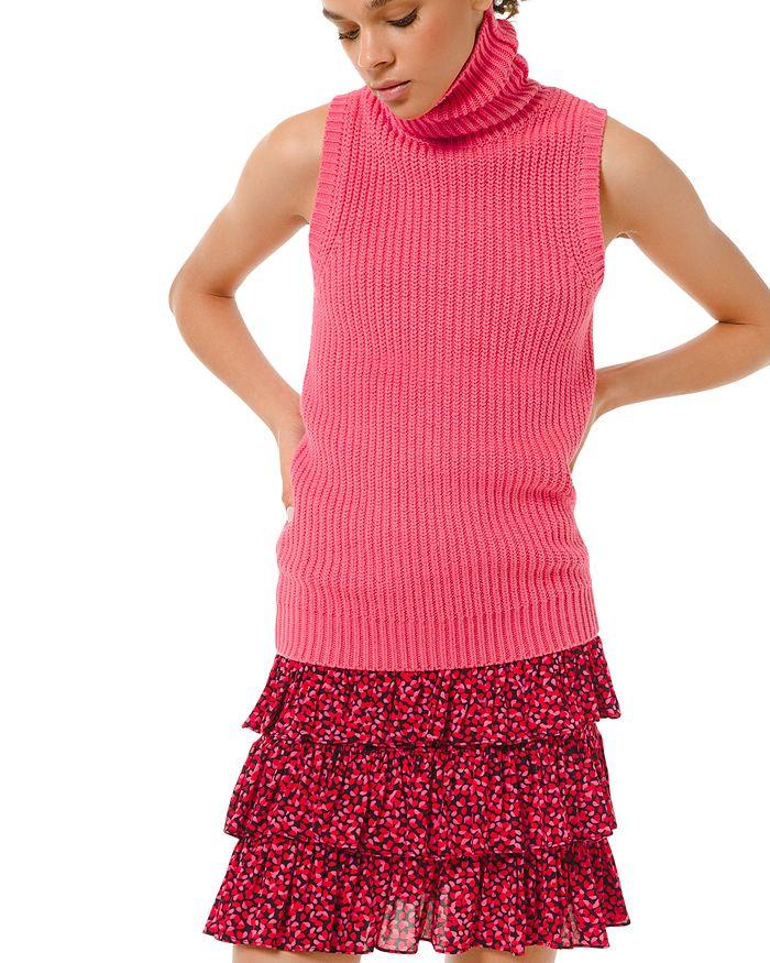 Michael Michael Kors Shaker Sleeveless Turtleneck In Camila Rose
