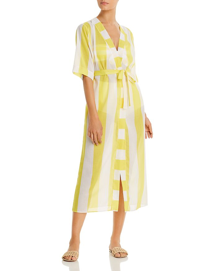 Verdelimon Striped Caftan Cover-up In Yellow Stripes
