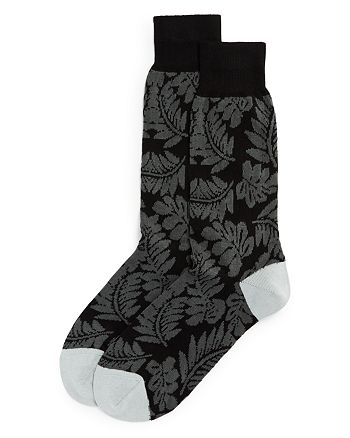 The Men's Store at Bloomingdale's - Cotton-Blend Tonal Tropical Leaf Crew Socks - 100% Exclusive
