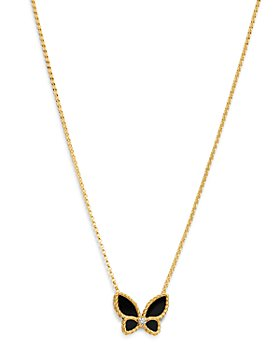 "Roberto Coin - 18K Yellow Gold Black Onyx & Diamond Butterfly Pendant Necklace, 16""-18"" - 100% Exclusive"