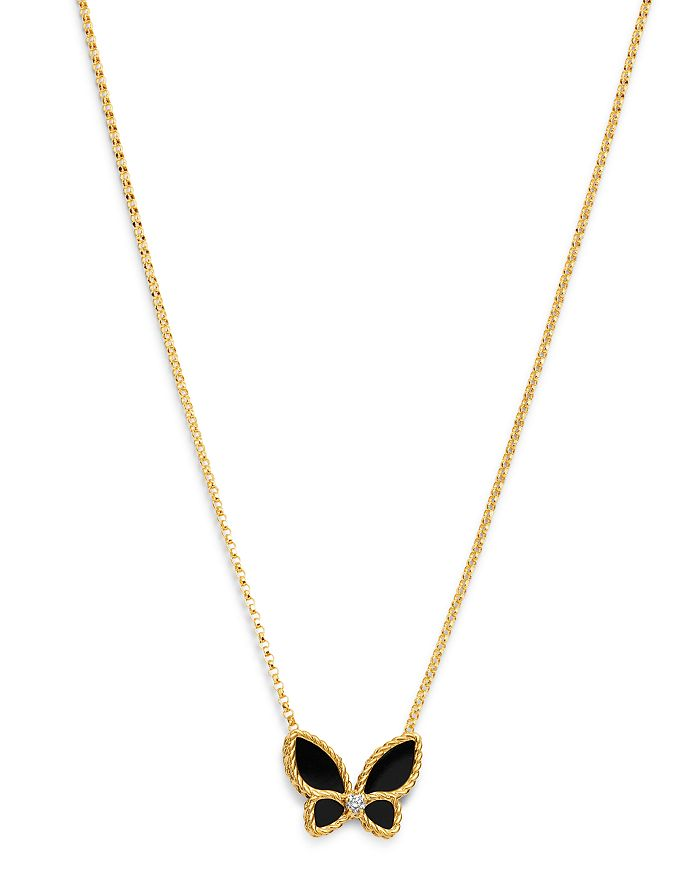 """Roberto Coin - 18K Yellow Gold Black Onyx & Diamond Butterfly Pendant Necklace, 16""""-18"""" - 100% Exclusive"""