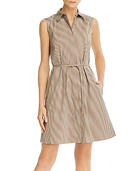 Theory - Pinstripe Poplin Belted Shirtdress