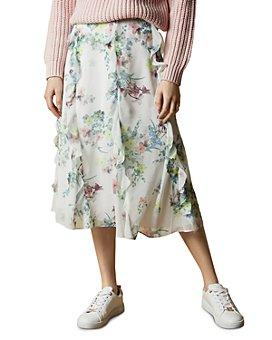Ted Baker - Lurissa Pergola Print Ruffled Midi Skirt