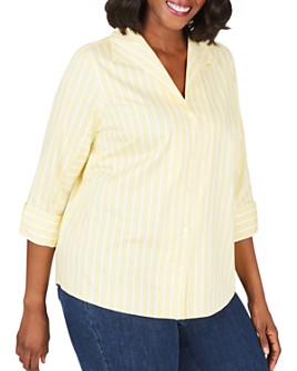 Foxcroft Plus - Cisley Non-Iron Stretch Striped Shirt