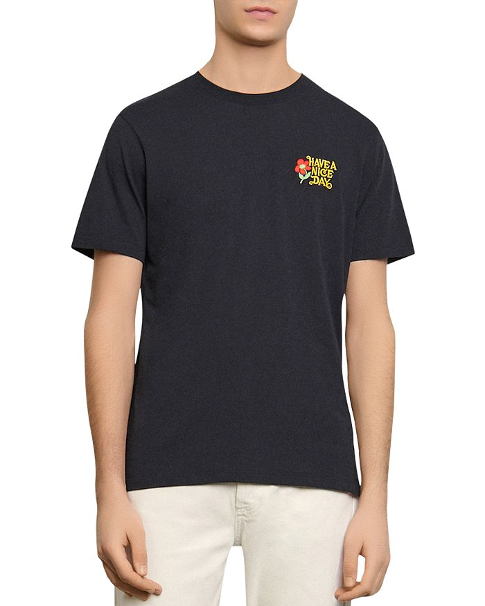 """Sandro - """"Have a Nice Day"""" Embroidered Tee"""