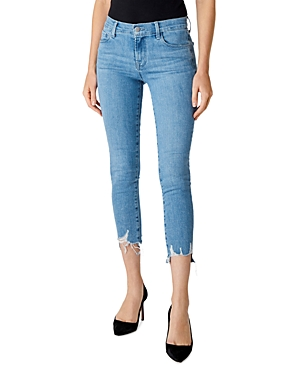 J Brand 835 Mid-Rise Cropped Skinny Jeans in Cloudy Destruct-Women
