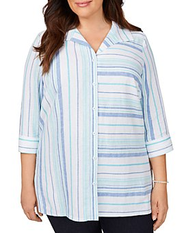 Foxcroft Plus - Santino Bahama Dobby Striped Shaped Tunic