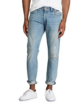 Polo Ralph Lauren - Varick Cotton Destroyed Slim Straight Fit Jeans in Newburgh Blue