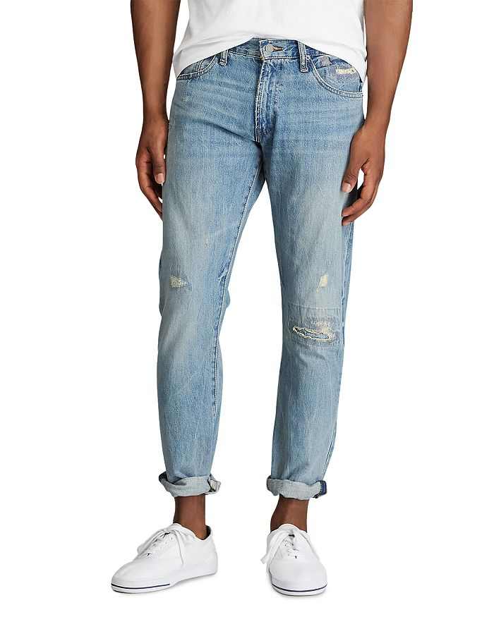 Polo Ralph Lauren - Varick Cotton Destroyed Slim Straight Fit Jeans in Newburgh Blue