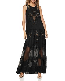 BCBGMAXAZRIA - Chiffon Lace Tiered Gown