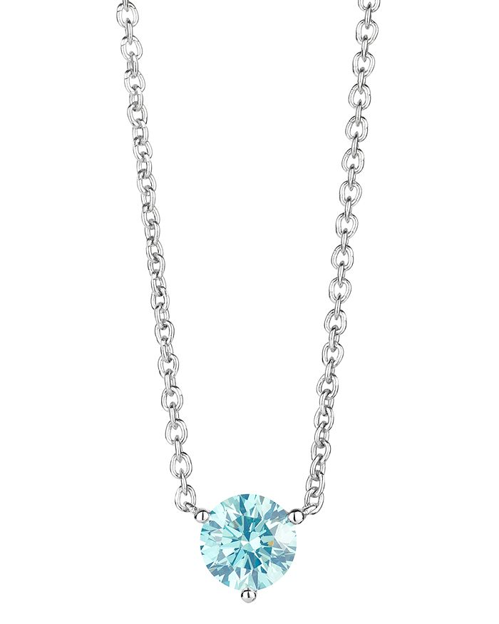 Lightbox Jewelry Lab-grown Blue Diamond Solitaire Pendant Necklace In Sterling Silver, 0.75 Ct. T.w, 16-18 In Blue/silver