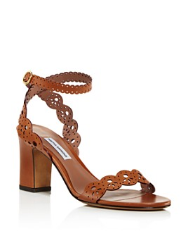 Tabitha Simmons - Women's Bobbin Perforated Lace Slingback Block-Heel Sandals