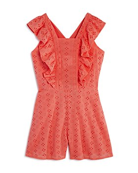 Habitual Kids - Girls' Cotton Eyelet Flutter-Sleeve Romper - Little Kid, Big Kid