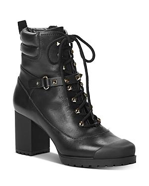 Valentino Garavani Women\\\'s High-Heel Studded Strap Combat Boots