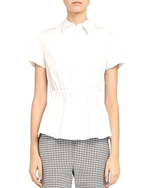 Theory Short-Sleeve Cinched Stretch Cotton Shirt