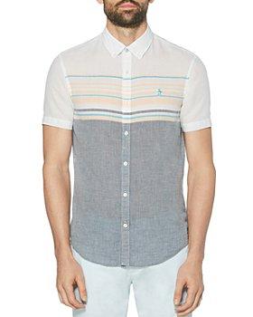 Original Penguin - Cotton-Blend Color-Blocked Engineered Stripe Slim Fit Button-Down Shirt