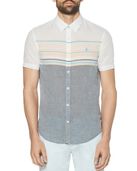 Original Penguin - Cotton-Blend Color-Blocked Engineered Stripe Slim Fit Button-Down Shirt