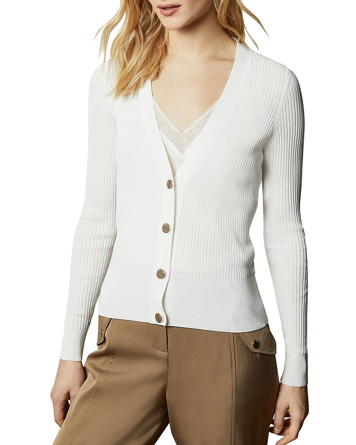 Ted Baker Raeyaa Ribbed Button-down Cardigan In Ivory