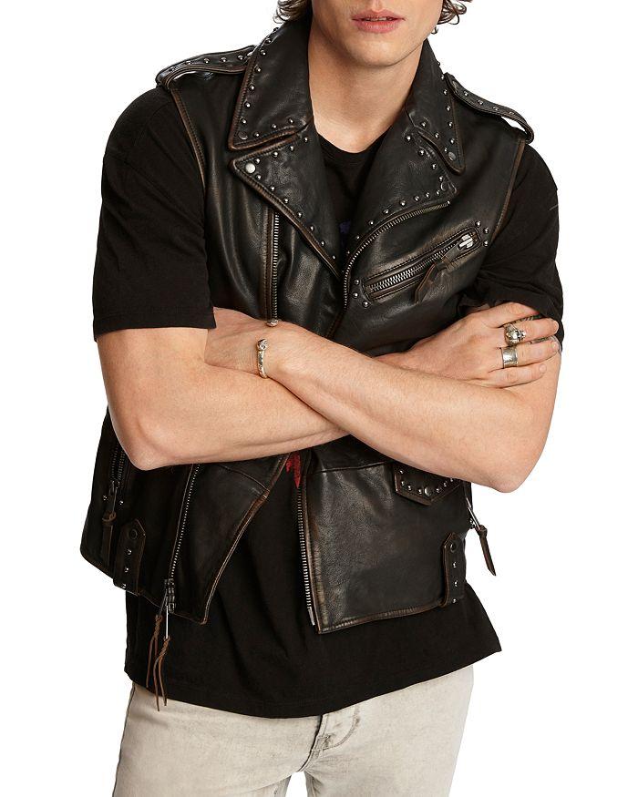 John Varvatos Star USA - Bruce Sheep Skin Regular Fit Biker Vest