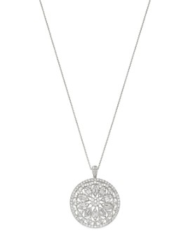 """Bloomingdale's - Diamond Medallion Pendant Necklace in 14K White Gold, 16-18"""" - 100% Exclusive"""
