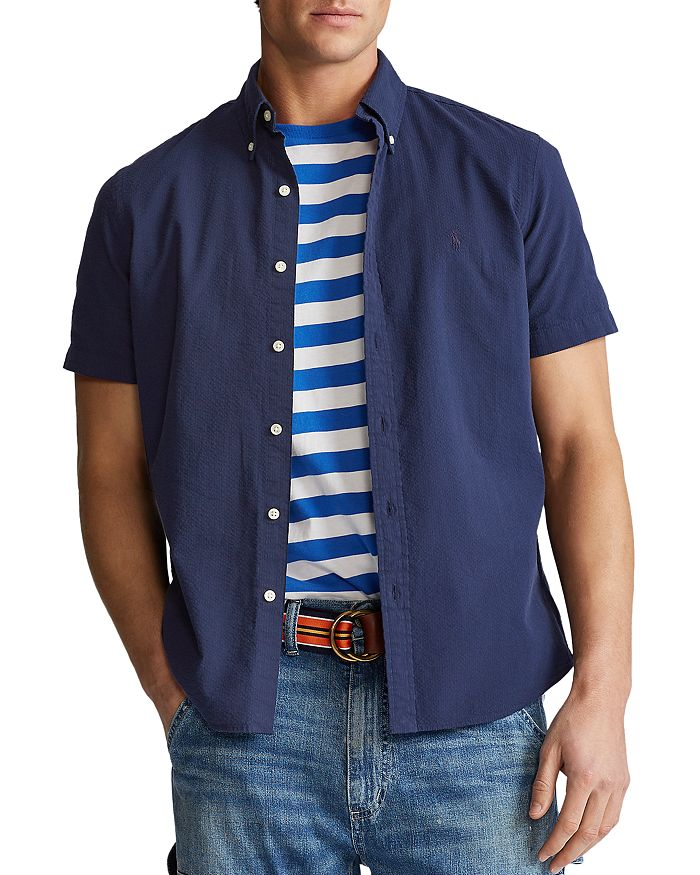 Polo Ralph Lauren - Solid Seersucker Classic Fit Short Sleeve Button-Down Shirt