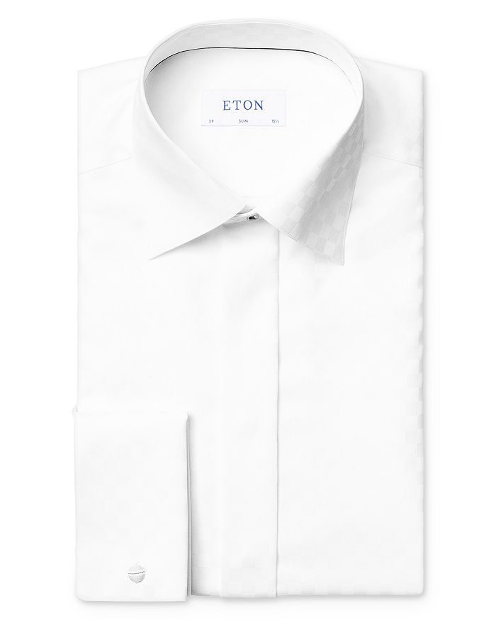 Eton - Satin Checkerboard Formal Slim Fit Dress Shirt