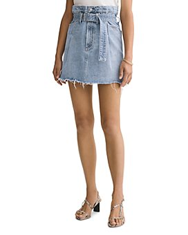 AGOLDE - Cotton Belted Paperbag-Waist Denim Skirt in Revival