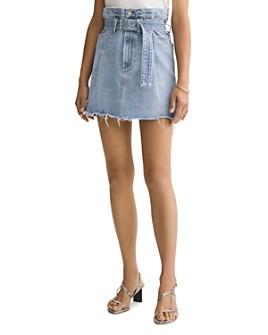 AGOLDE - Cotton Belted Paperbag-Waist Denim Skirt in Revival