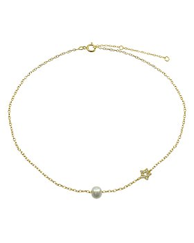"""AQUA - Pavé Star & Cultured Freshwater Pearl Collar Necklace, 15.5""""-17.5"""" - 100% Exclusive"""