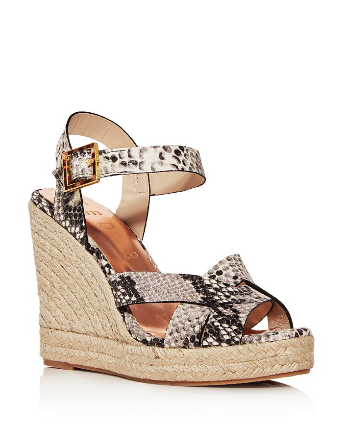 Ted Baker - Women's Snake-Embossed Espadrille Wedge Platform Sandals