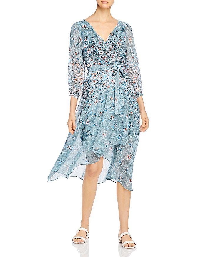 KARL LAGERFELD PARIS - Floral-Print Faux Wrap Midi Dress